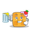waffle character cartoon design with juice vector image vector image
