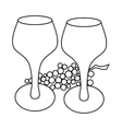 Wine glass and grape icon outline style vector image vector image