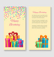 birthday greeting card with gift boxes vector image