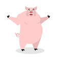 Cheerful pig spread his arms in an embrace vector image