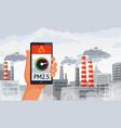 air pollution alert pm25 alerts meter smartphone vector image vector image