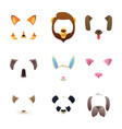 animal faces for video or photo filters vector image vector image