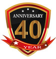 anniversary 40 th label with ribbon vector image vector image