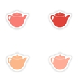 assembly realistic sticker design on paper teapot vector image vector image