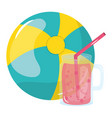 beach balloon with juice fruit jar vector image