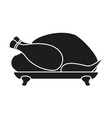 black and white roast turkey silhouette vector image
