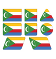 buttons with flag of Comoros vector image vector image