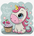 cartoon unicorn with cupcake on a blue background vector image vector image