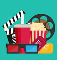 cinema design in flat style vector image vector image