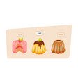 colorful sweet charming cakes slices with glaze vector image vector image