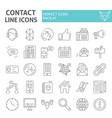 contact thin line icon set communication symbols vector image