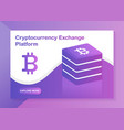 cryptocurrency exchange platform web-design vector image vector image