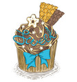 cupcake with chocolate cream vector image