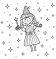 cute fairy with a magic wand in sky coloring vector image