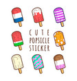 cute popsicle sticker set cartoon collection vector image