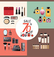 discount sale makeup design concept set vector image vector image