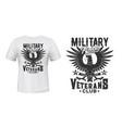 eagle print t-shirt mockup military veterans club vector image