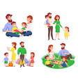 family retro cartoon style set vector image vector image