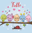 five cute birds and ladybug vector image