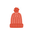 flat knitted hat with earflaps vector image vector image