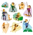Funny cartoon hunters set Hunter cartoon set vector image