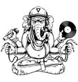 ganesha with musical attributes vector image vector image