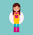 girl gardener farm with apron and boots vector image