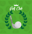 golf club ball with laurel leaves green background vector image vector image