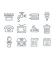 household services utility payment bill line icons vector image