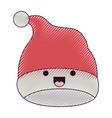 kawaii christmas hat santa claus smiling vector image vector image