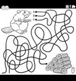line maze with cartoon beaver and wood logs vector image vector image