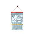 macrame wall hanging made of blue cotton cord vector image