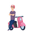 man and scooter pink motorcycle flat male vector image vector image