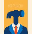 man hammer businessman instead head vector image