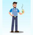 man with hot latte cartoon vector image vector image