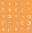 Map line icons on orange background vector image vector image