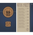 Menu for the pub on denim vector image vector image