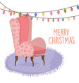merry christmas celebration pink sofa furniture vector image