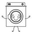 monochrome cartoon silhouette of washing machine vector image vector image