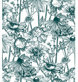 pattern plant engrave ink meadow flowers vector image