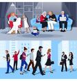 People With Gadgets 2 Flat Banners vector image vector image