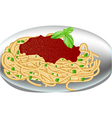 plate spaghetti vector image vector image