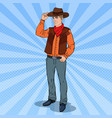 pop art cowboy in hat smiling wild west hero vector image vector image