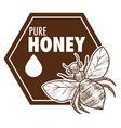 pure honey poster with bee monochrome sketch vector image vector image