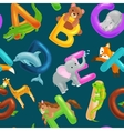 seamless pattern with cartoon animals alphabet vector image vector image