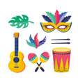 set mask with maracas and guitar with feathers to vector image vector image