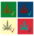 set of flat hand drawn color botanical of hemp vector image vector image