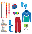 set of winter accessories for extreme ski sport vector image vector image