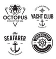 set sea and nautical typography badges vector image