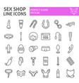 sex shop line icon set toys symbols